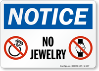 No Jewelry OSHA Notice Sign