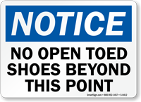 No Open Toed Shoes Sign