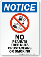 No Peanuts, Tree Nuts, Crustaceans Or Smoking Sign