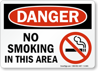 No Smoking In This Area Danger Sign