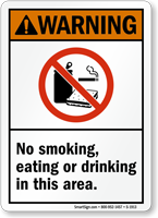 ANSI Warning No Smoking, Eating or Drinking Sign