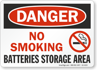 No Smoking Batteries Storage Area OSHA Danger Sign