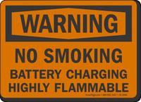 No Smoking Battery Charging OSHA Warning Sign