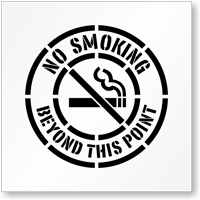 No Smoking Beyond This Point Floor Stencil