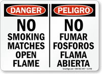 Bilingual No Smoking Matches Sign