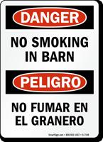 No Smoking In Barn Bilingual Sign