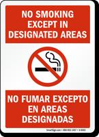 No Smoking Except No Fumar Excepto Sign