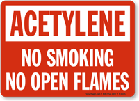 Acetylene No Smoking Flames Sign