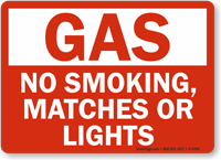 Gas No Smoking Matches Lights Sign