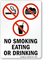 No Smoking Eating Or Drinking (symbols) Sign