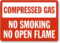 Compressed Gas No Smoking Sign