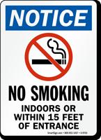 Notice No Smoking Indoor Entrance Sign
