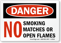 No Smoking Matches Or Open Flame Sign