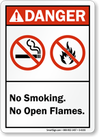 No Smoking Open Flames Danger Sign
