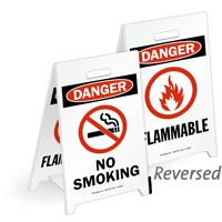 Danger No Smoking Flammable Reversible Fold-Ups Floor Sign