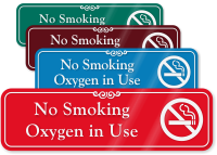 No Smoking Oxygen In Use ShowCase Wall Sign