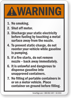 No Smoking Shut Off Motor ANSI Warning Sign