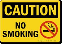 Caution: No Smoking (with symbol)