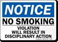 No Smoking Disciplinary Action taken Sign