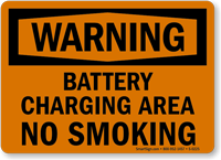 Warning Battery Charging Smoking Sign