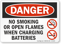 No Smoking When Charging Batteries OSHA Danger Sign