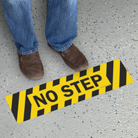 No Step With Broad Stripes Floor Safety Sign