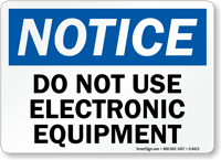 No Using Electronic Equipment Sign
