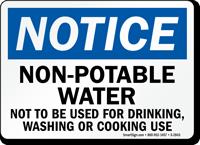 Notice Non-Potable Water Sign