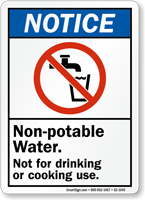 Non Potable Water Notice Sign