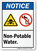 Non Potable Waters Notice Sign