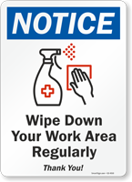 Notice Disinfect Surfaces Regularly Sign