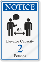 Notice Elevator Capacity ShowCase Sign