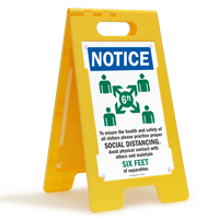 NOTICE: Ensure the Health and Safety of Others Practice Social Distancing FloorBoss XL™ Floor Sign