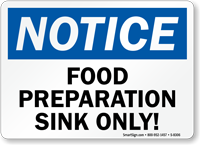 Notice Food Separation Sink Sign