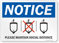 Notice Please Maintain Social Distance Sign