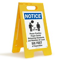 NOTICE: Please Practice Social Distancing Standards FloorBoss XL™ Floor Sign