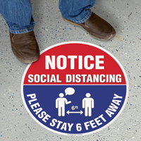 Notice Social Distancing Please Stay 6ft Away SlipSafe Floor Sign