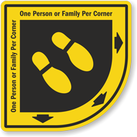 One Family Per Corner SlipSafe Floor Sign