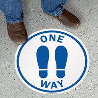 One Way With Footprints Symbol SlipSafe Floor Sign