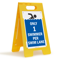 Only 1 Swimmer Per Lane FloorBoss XL™  Standing Floor Sign