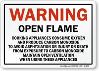 Open Flame, Cooking Appliances Consume Oxygen Warning Sign