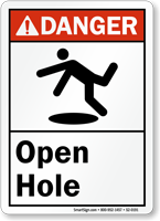 Open Hole ANSI Danger Sign With Graphic