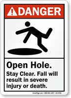 Open Hole Fall Result In Severe Injury Sign