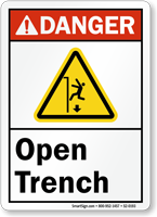 Open Trench ANSI Danger Sign With Graphic