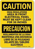 Caution Bilingual Electrical Panel Clear OSHA Sign