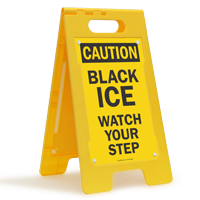 OSHA Caution Black Ice Standing Floor Sign