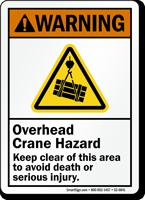 Overhead Crane Hazard, Keep Clear Avoid Death Sign