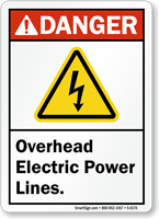 Overhead Electric Power Lines Sign