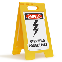 Overhead Power Lines Standing Floor Sign
