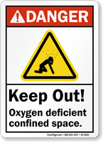 Keep Out Oxygen Deficient Confined Space Danger Sign